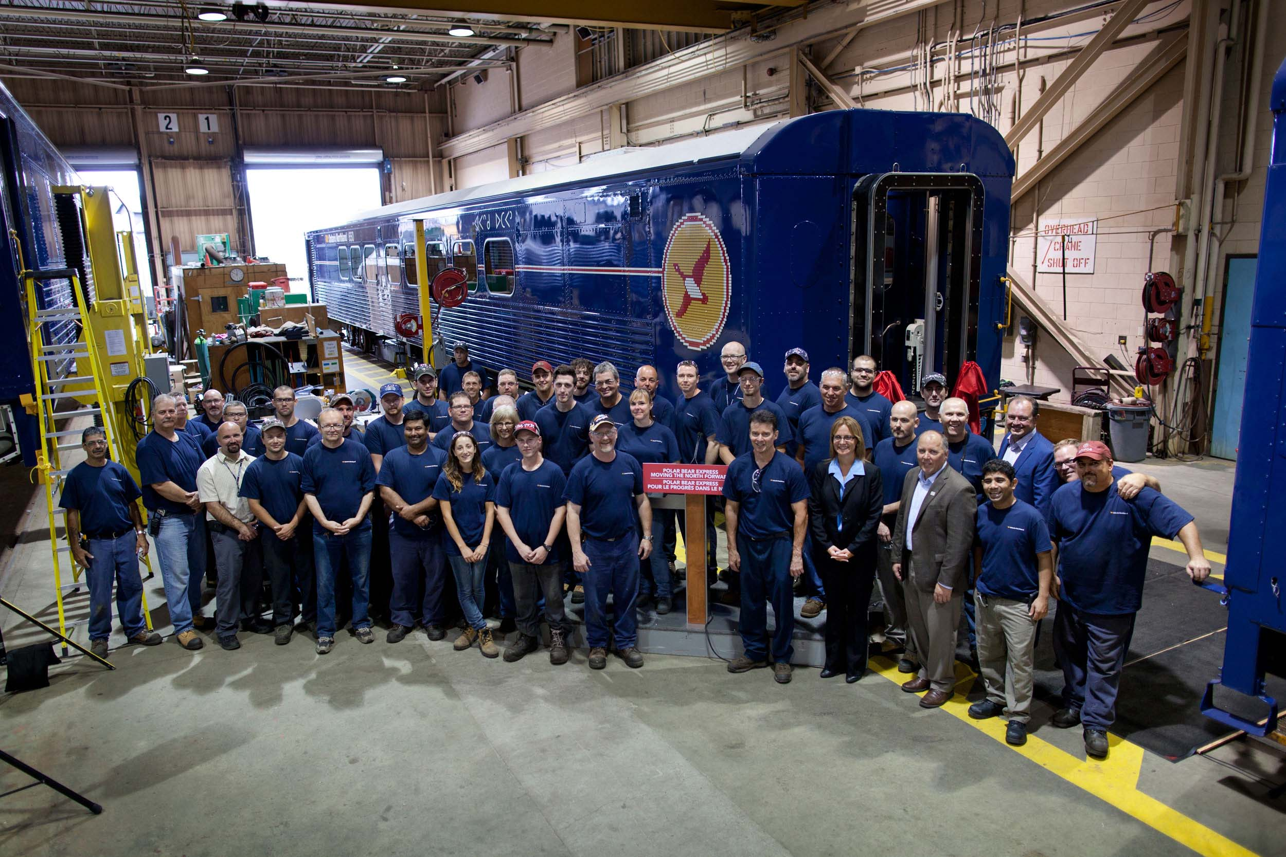 group shot of Ontario Northland employees in the Remanufacturing and Repair Centre